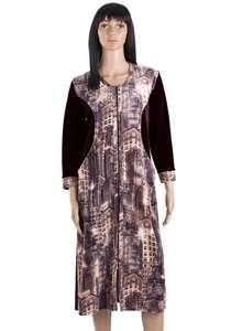Велюровый халат на молнии ХЖ-09-01 коричневый + абстракция 308 - фото Пані d9f234c5424cf