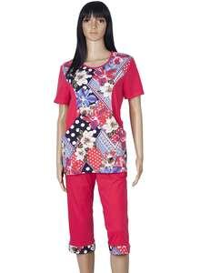 82365716bc23 Комплект женский футболка и капри КК-04 абстракция 397 + малиновый - фото Пані  Яновська
