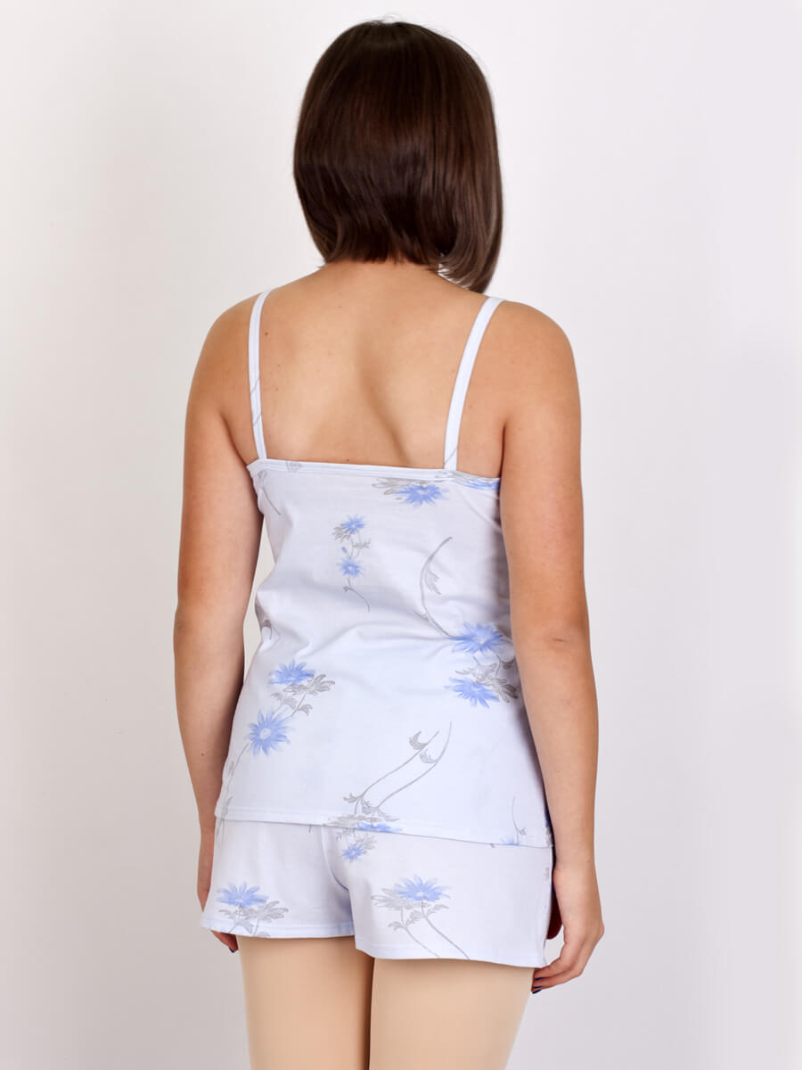 66b9d6e70a0d ... Пижама женская шорты майка на бретелях КК-01 голубой(УЦЕНКА) - фото 1  ...