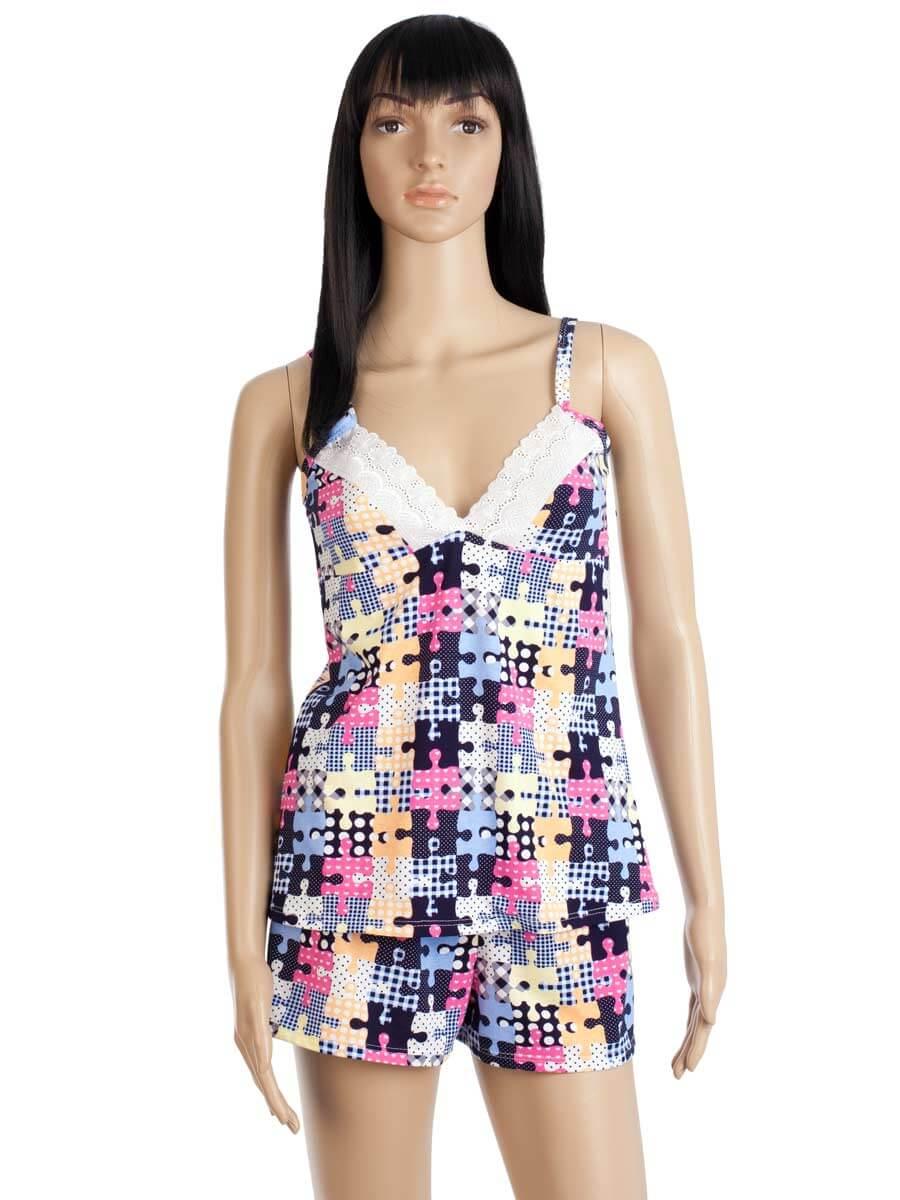 3e54ea8c17c9 Пижама женская шорты майка на бретелях КК-01 абстракция 289 - купить ...