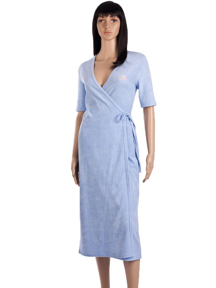 6c2b77735bf Махровый халат на запах ХЖ-02 голубой - купить оптом по цене от 314 ...