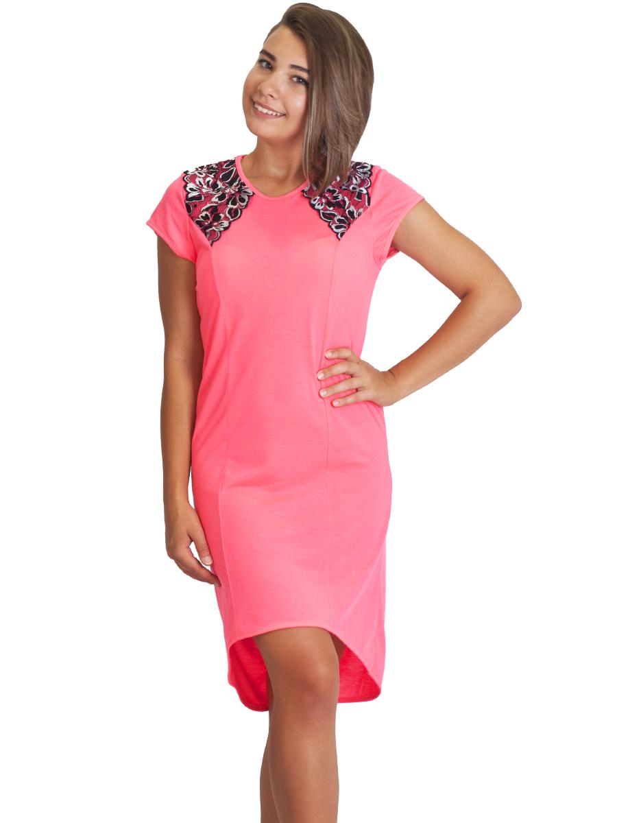 93d9d48dbeede34 Ночнушка женская с кружевом СК-03 фосфорный розовый - купить оптом ...
