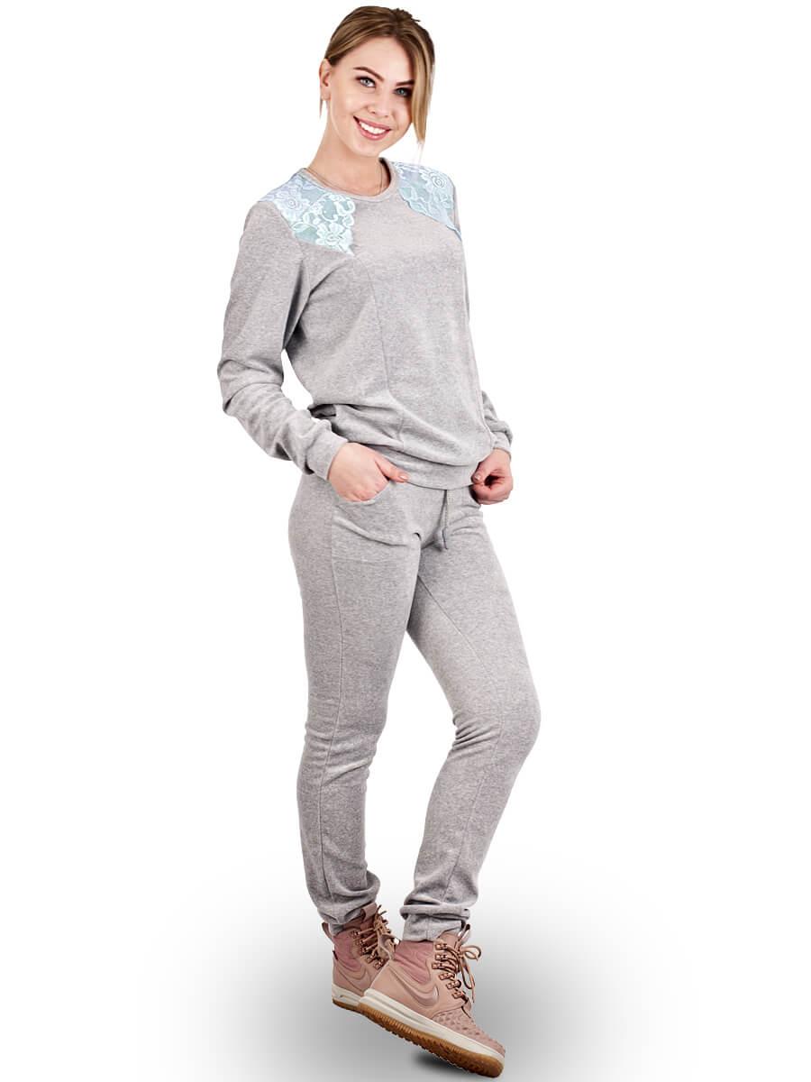 Велюровый костюм женский КЖ-01 серый - купить оптом по цене от 401,0 ... d5e033f7114