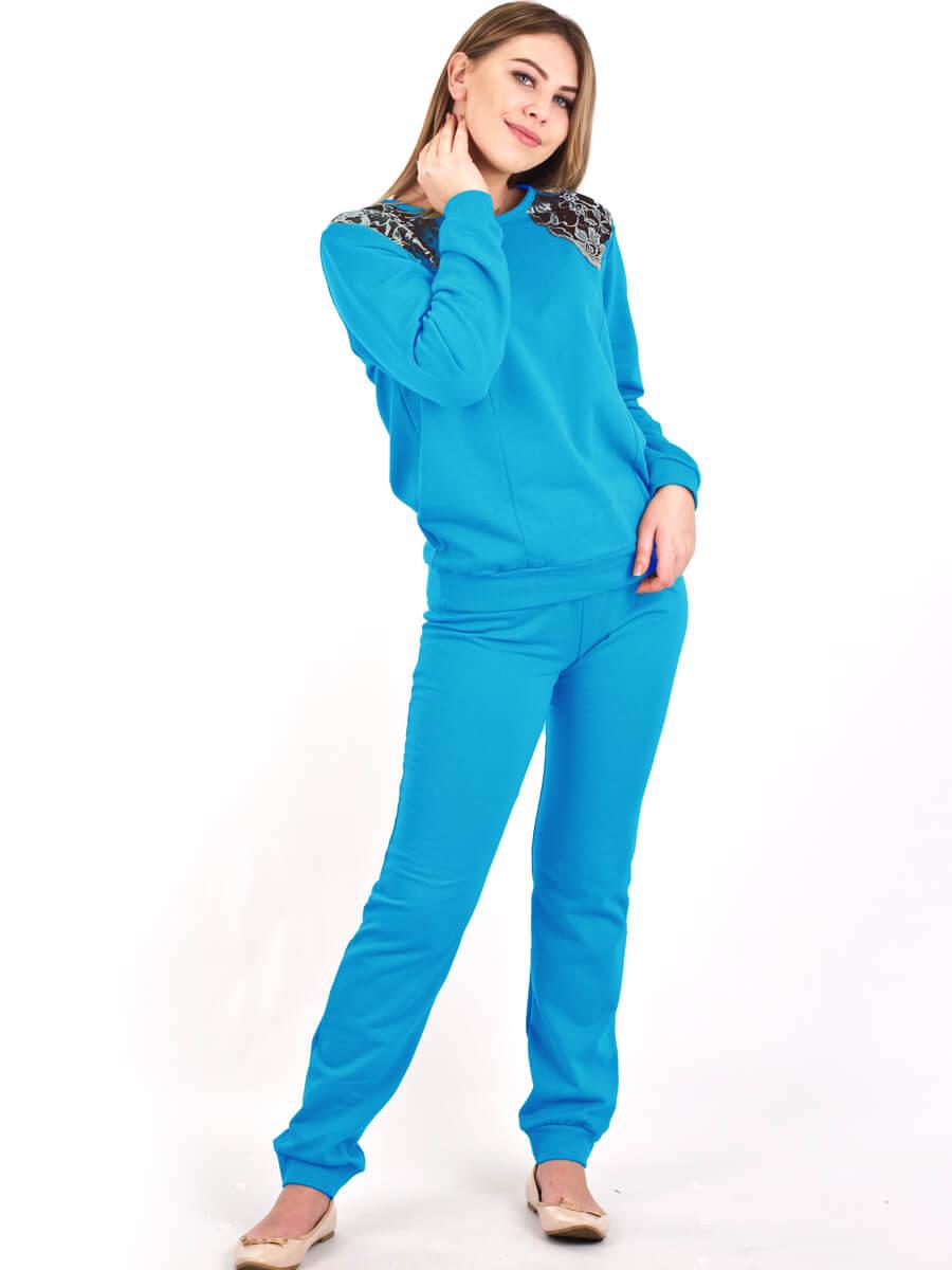 ce3653e24c39 Пижама женская брюки кофта длинный рукав ПНЖ-01 бирюза - фото 0 ...