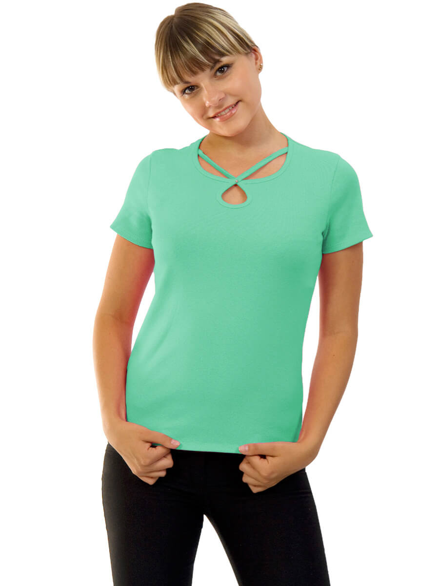 Женская футболка короткий рукав стрейч ФЖ-02 ментоловый - купить ... 23c4f69e59ab5