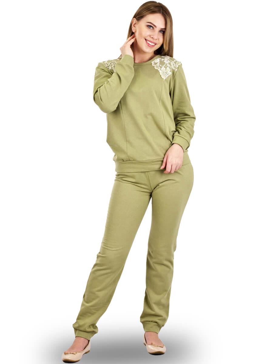 fb90d0d0ff2e Пижама женская брюки кофта длинный рукав ПНЖ-01 оливковый - фото 0 ...